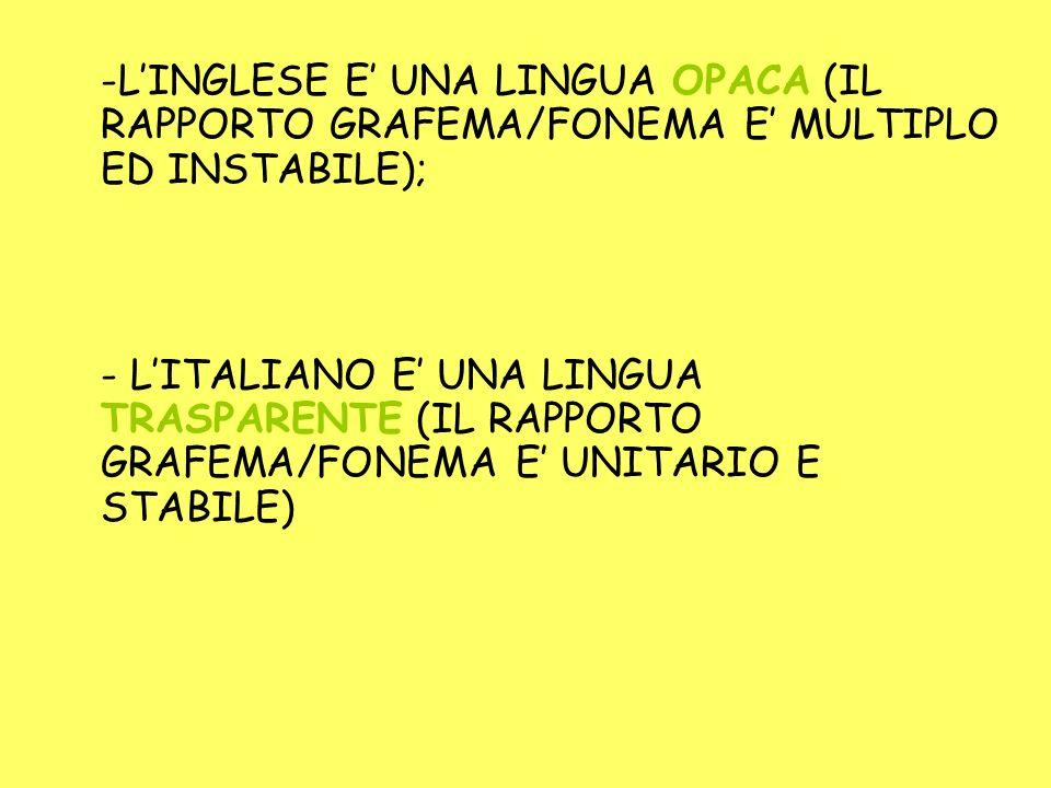 L'INGLESE E' UNA LINGUA OPACA (IL RAPPORTO GRAFEMA/FONEMA E' MULTIPLO ED INSTABILE);