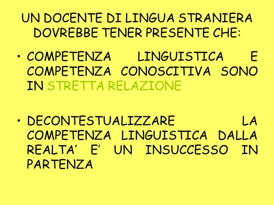 UN DOCENTE DI LINGUA STRANIERA DOVREBBE TENER PRESENTE CHE: