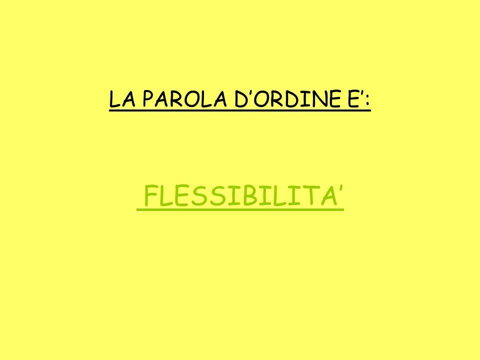 LA PAROLA D'ORDINE E': FLESSIBILITA'
