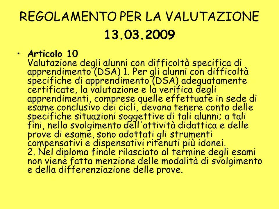 REGOLAMENTO PER LA VALUTAZIONE 13.03.2009