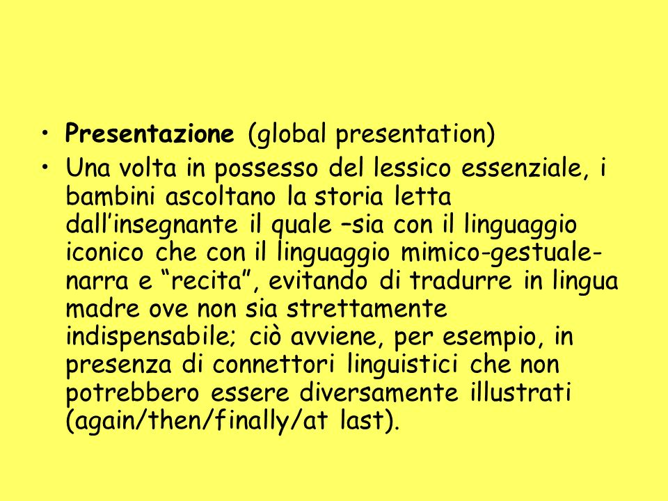Presentazione (global presentation)