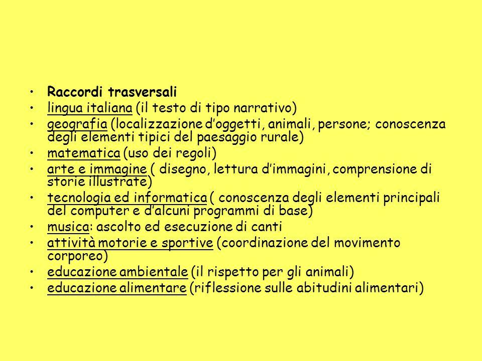 Raccordi trasversali lingua italiana (il testo di tipo narrativo)