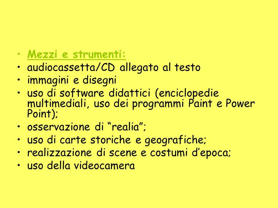 Mezzi e strumenti: audiocassetta/CD allegato al testo. immagini e disegni.