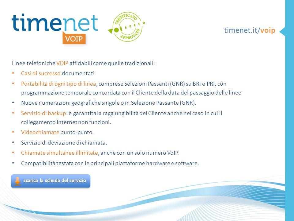 timenet.it/voip Linee telefoniche VOIP affidabili come quelle tradizionali : Casi di successo documentati.