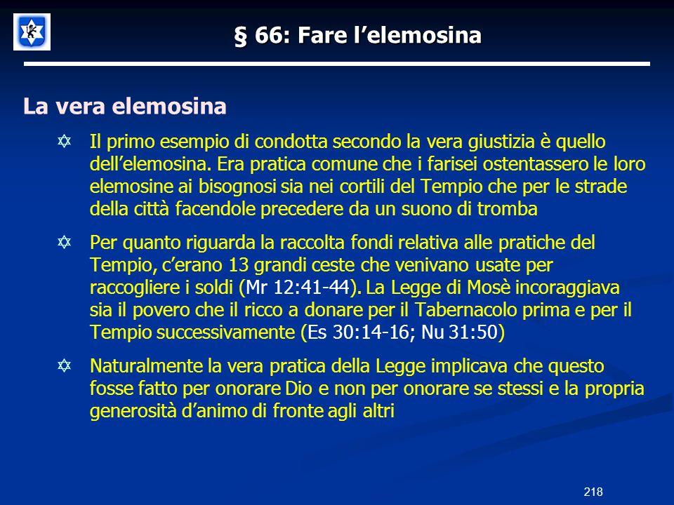 § 66: Fare l'elemosina La vera elemosina