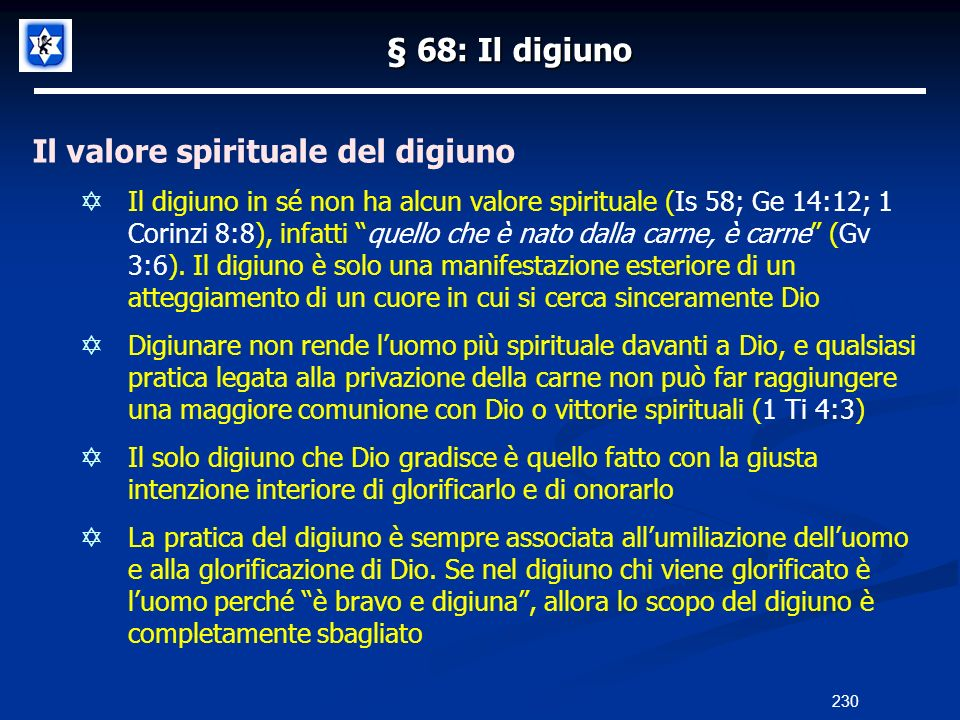 Il valore spirituale del digiuno