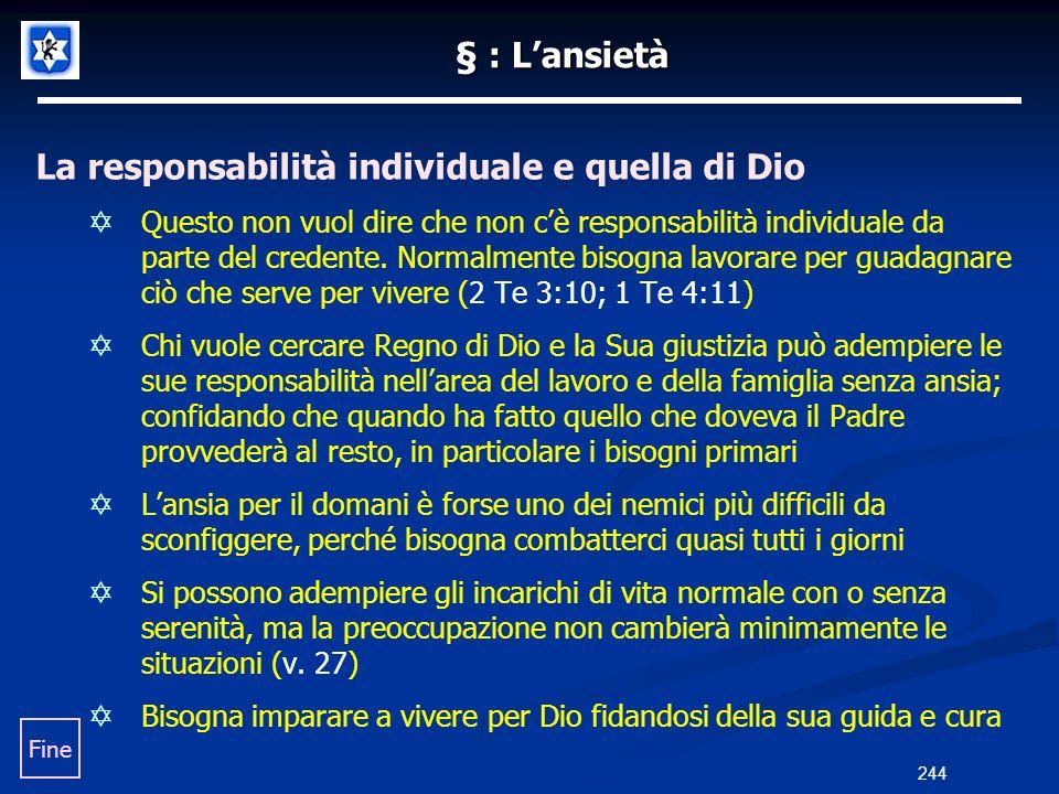 La responsabilità individuale e quella di Dio