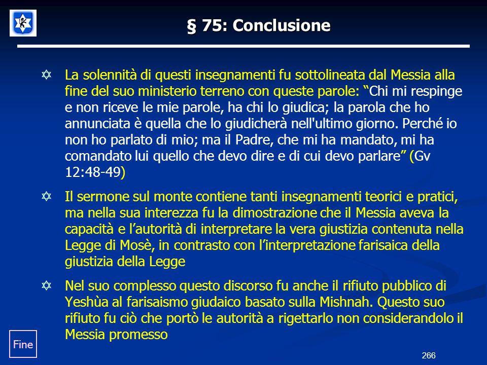 § 75: Conclusione