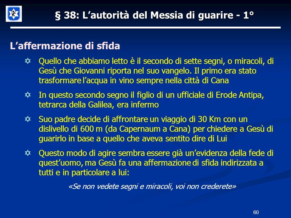 § 38: L'autorità del Messia di guarire - 1°