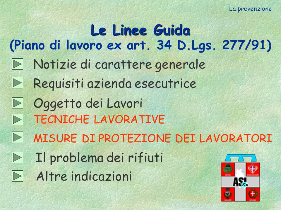 Le Linee Guida (Piano di lavoro ex art. 34 D.Lgs. 277/91)