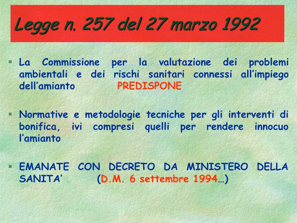 Legge n. 257 del 27 marzo 1992