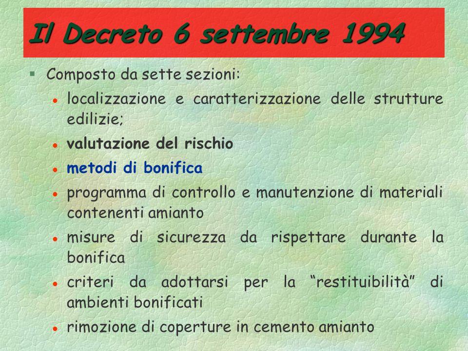 Il Decreto 6 settembre 1994 Composto da sette sezioni: