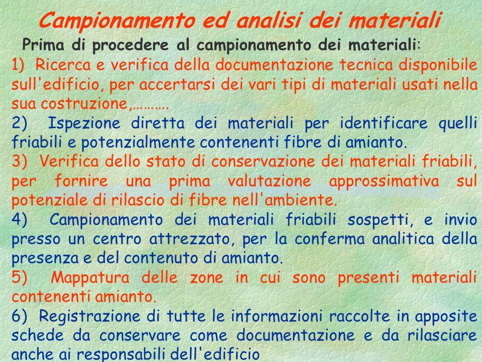 Campionamento ed analisi dei materiali