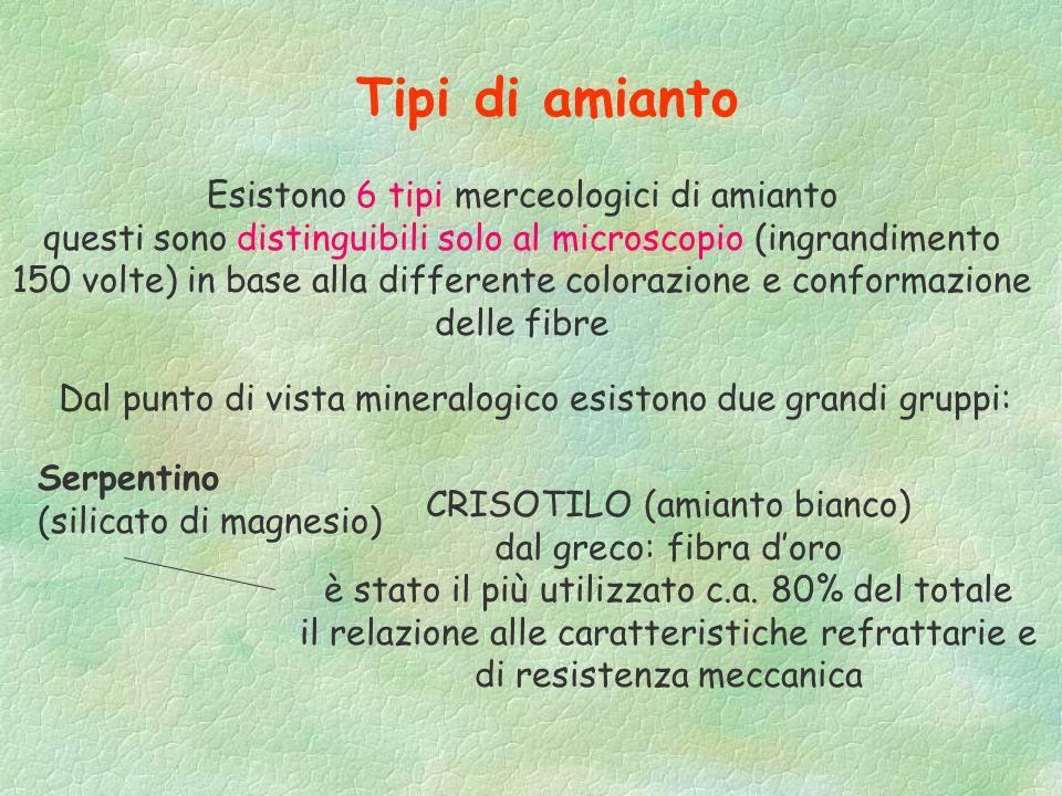 Tipi di amianto Esistono 6 tipi merceologici di amianto
