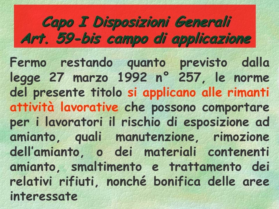 Capo I Disposizioni Generali Art. 59-bis campo di applicazione