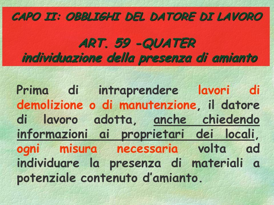 CAPO II: OBBLIGHI DEL DATORE DI LAVORO ART
