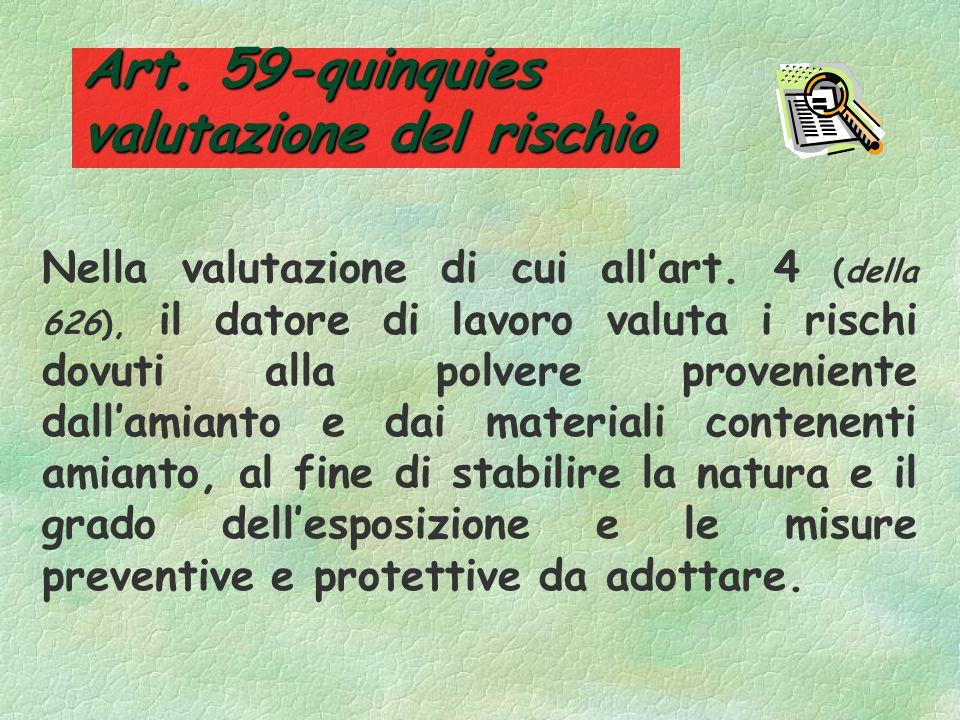 Art. 59-quinquies valutazione del rischio