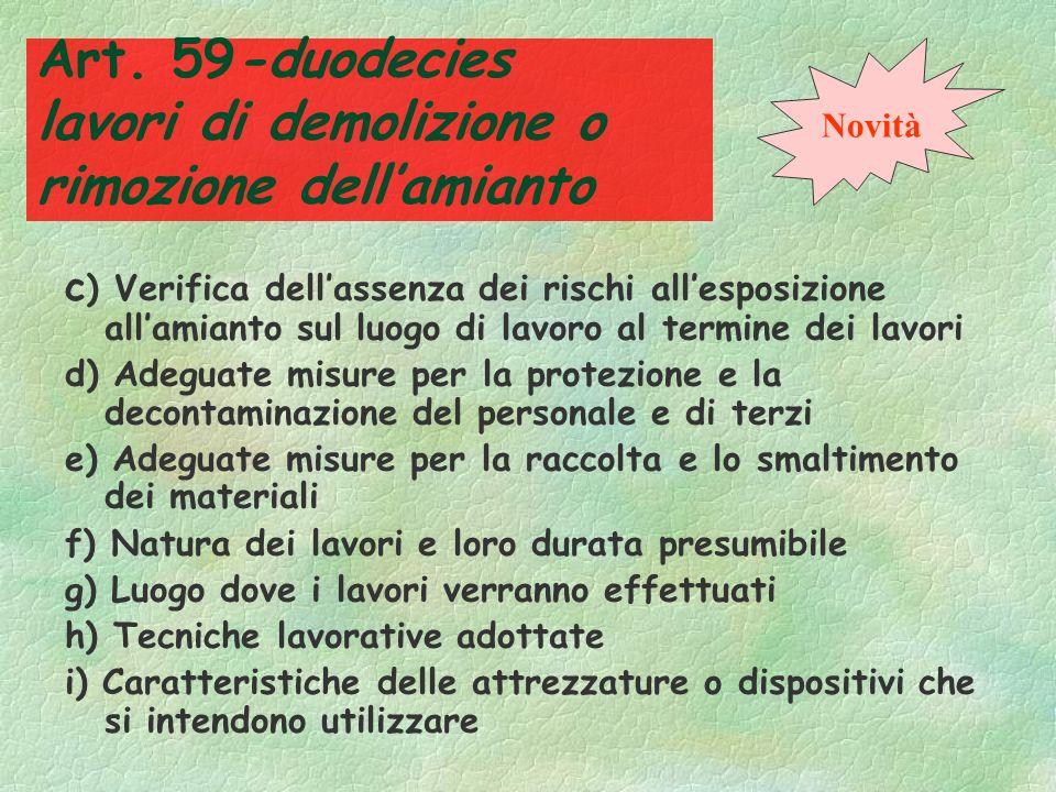 Art. 59-duodecies lavori di demolizione o rimozione dell'amianto