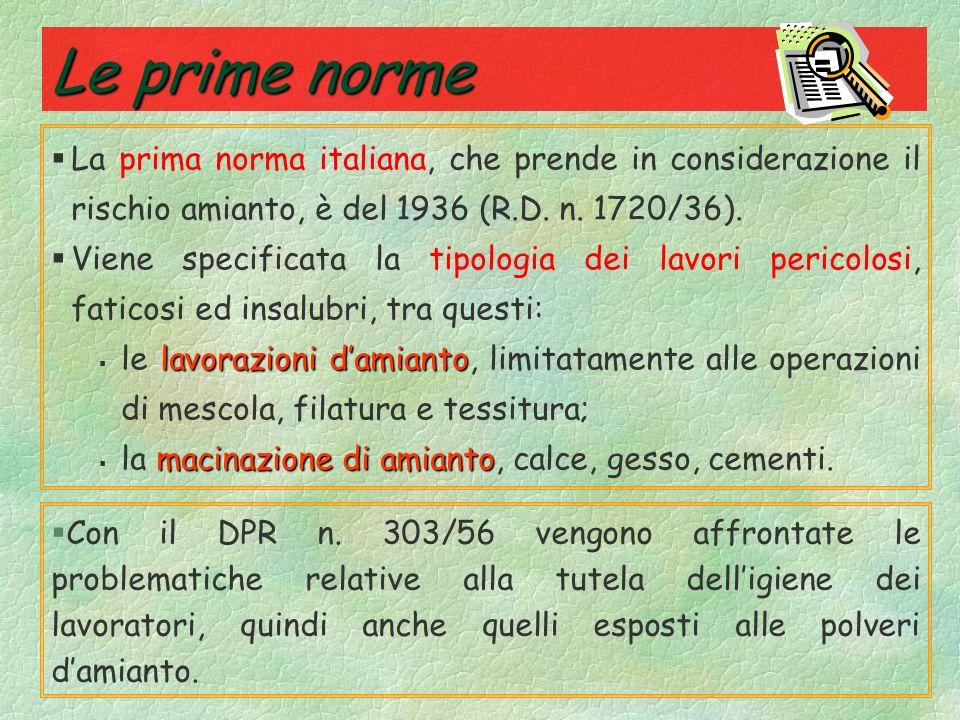 Le prime norme La prima norma italiana, che prende in considerazione il rischio amianto, è del 1936 (R.D. n. 1720/36).