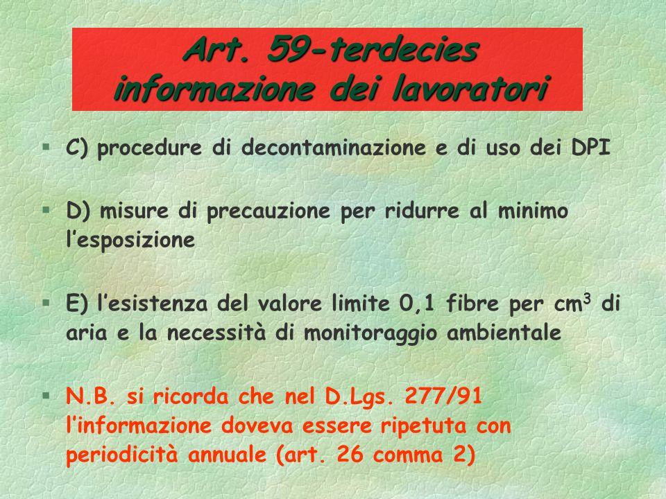 Art. 59-terdecies informazione dei lavoratori