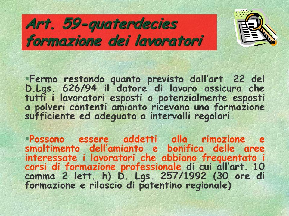 Art. 59-quaterdecies formazione dei lavoratori