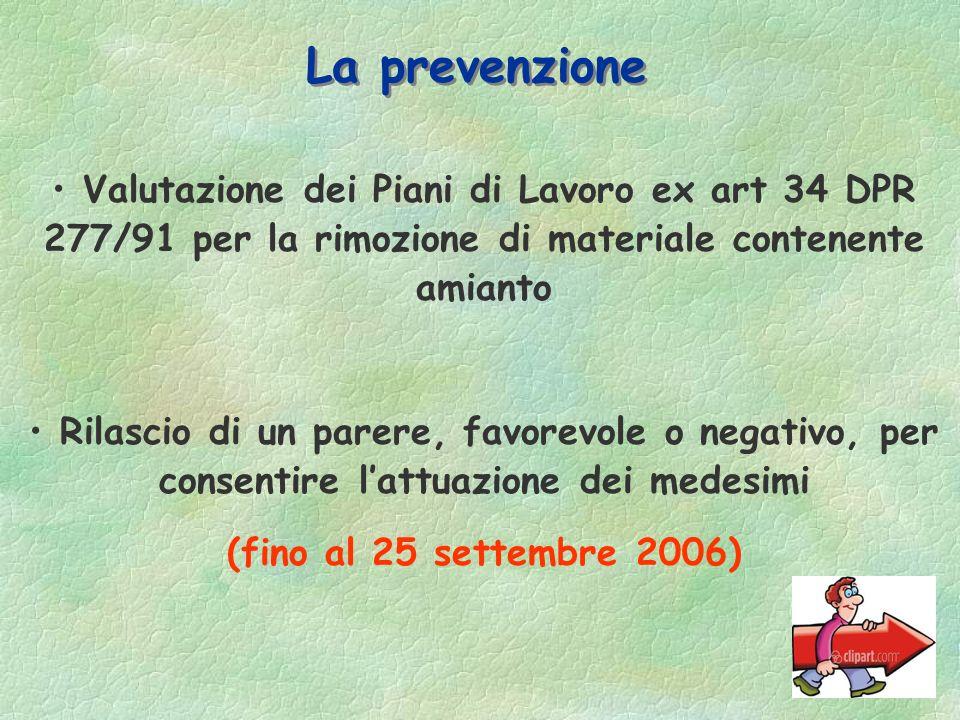 La prevenzione Valutazione dei Piani di Lavoro ex art 34 DPR 277/91 per la rimozione di materiale contenente amianto.