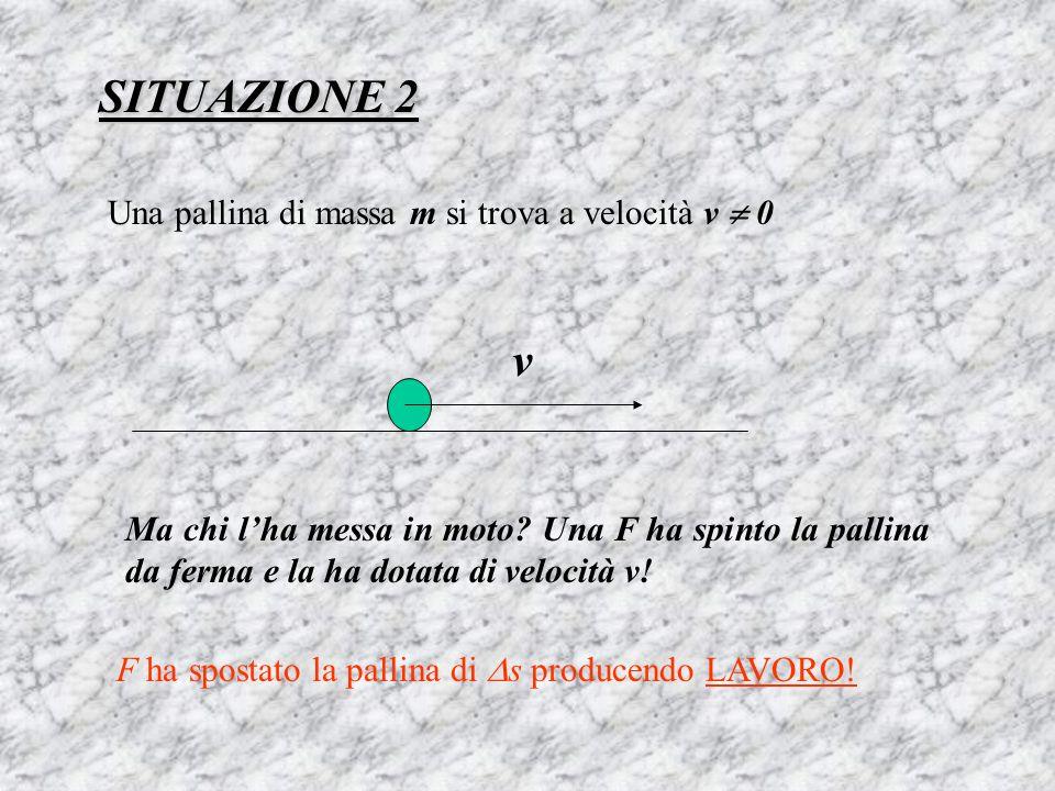 SITUAZIONE 2 v Una pallina di massa m si trova a velocità v  0
