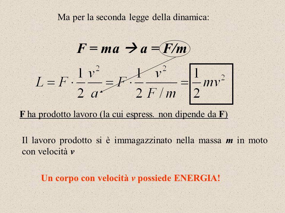 F = ma  a = F/m Ma per la seconda legge della dinamica: