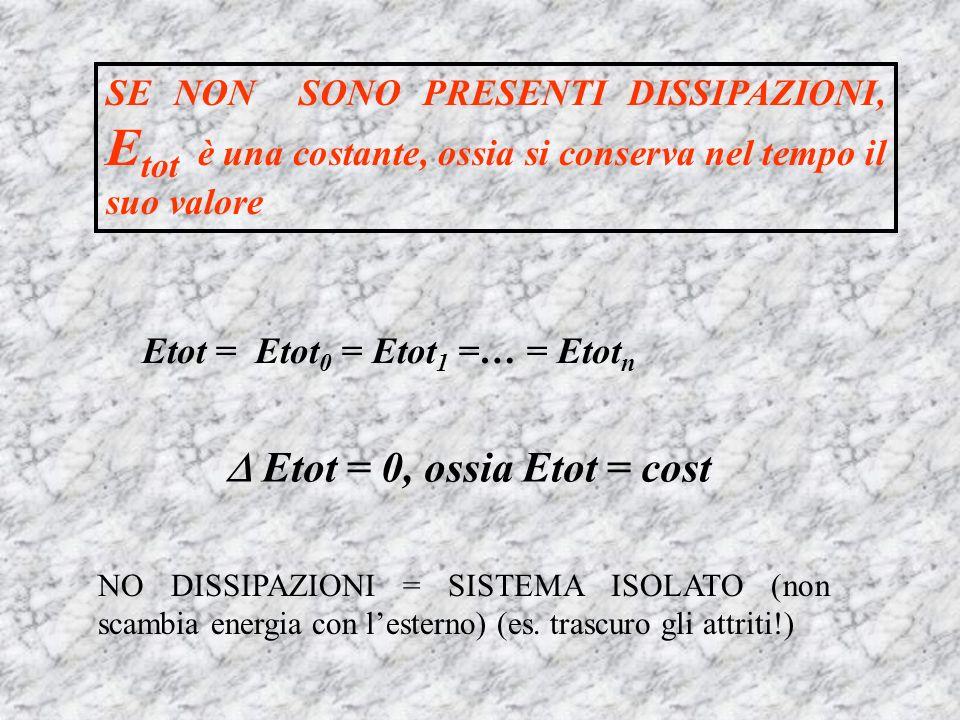  Etot = 0, ossia Etot = cost