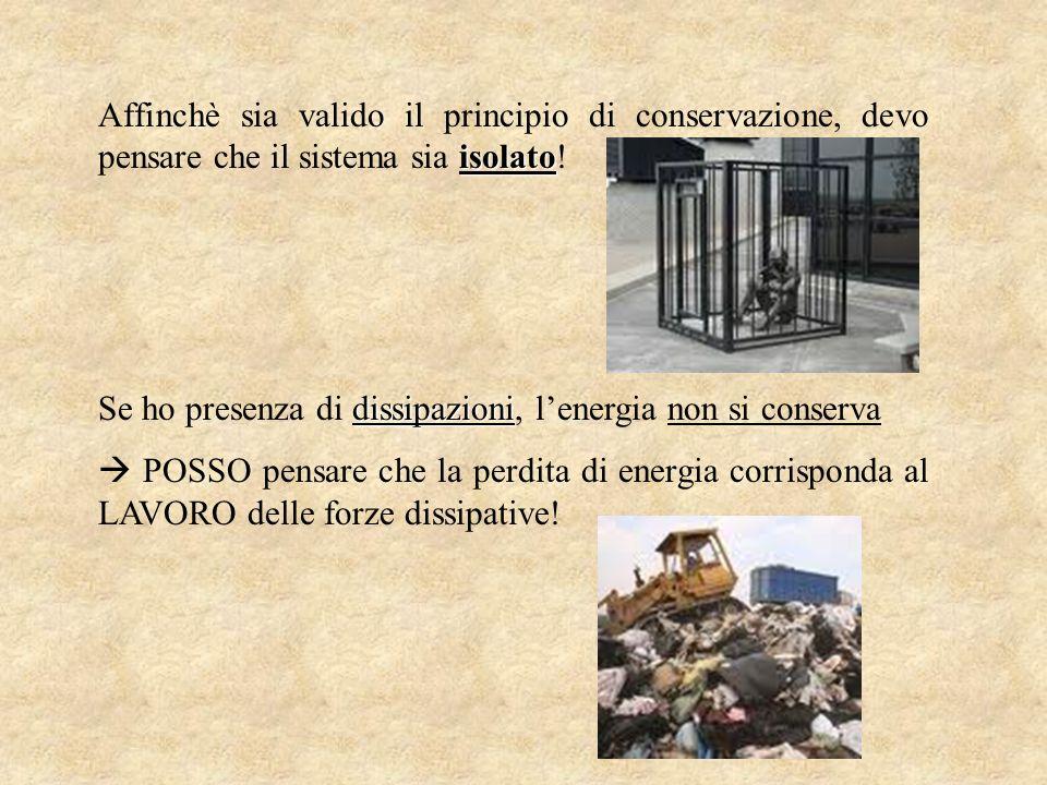 Affinchè sia valido il principio di conservazione, devo pensare che il sistema sia isolato!