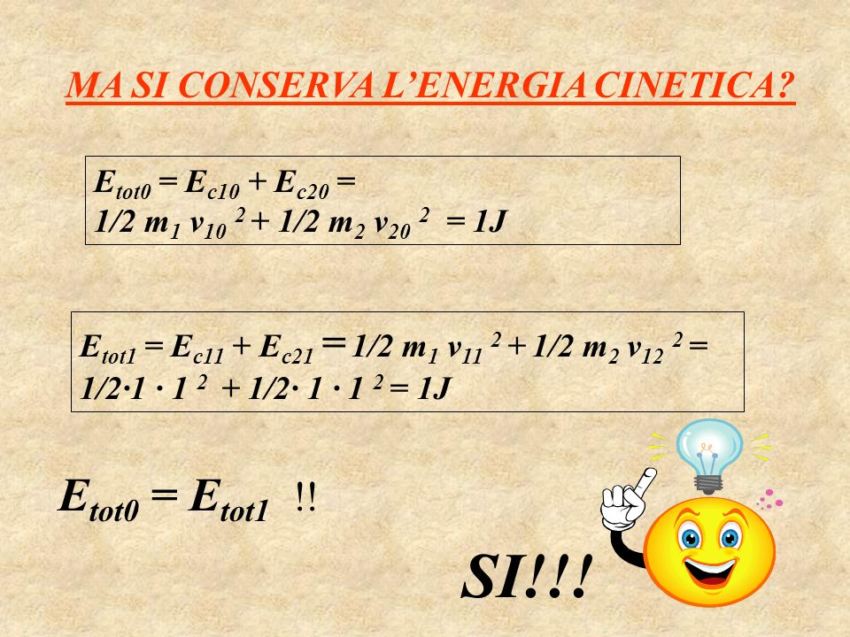 SI!!! Etot0 = Etot1 !! MA SI CONSERVA L'ENERGIA CINETICA