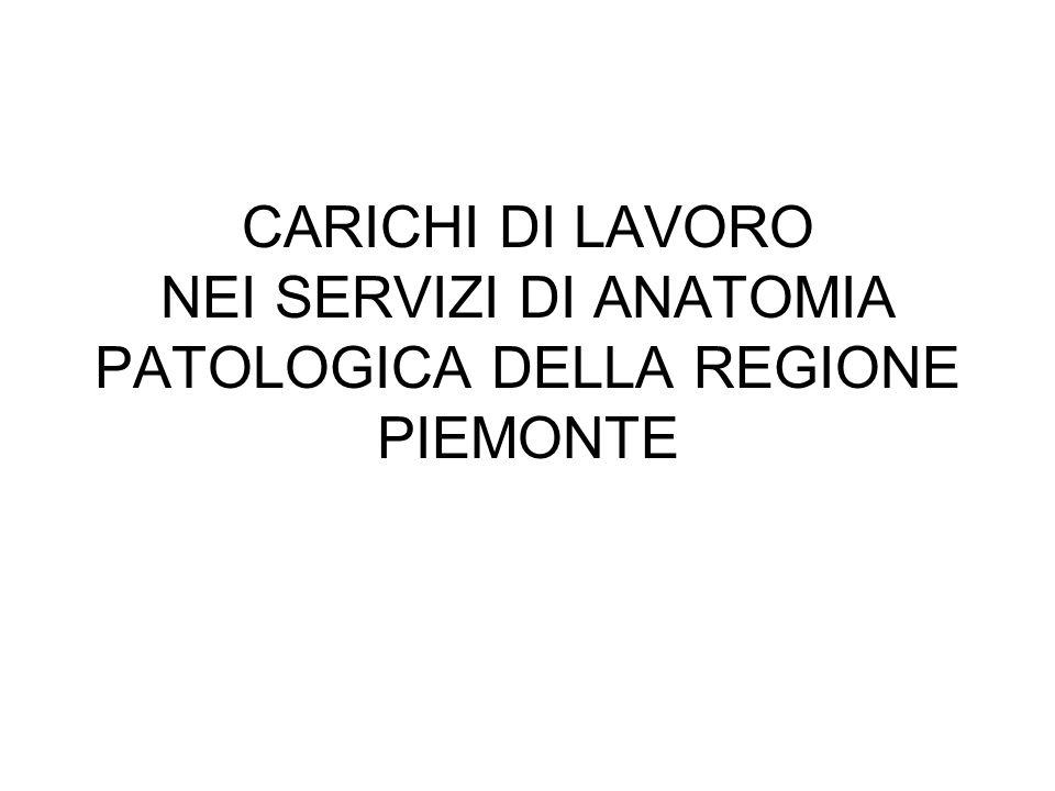 CARICHI DI LAVORO NEI SERVIZI DI ANATOMIA PATOLOGICA DELLA REGIONE PIEMONTE
