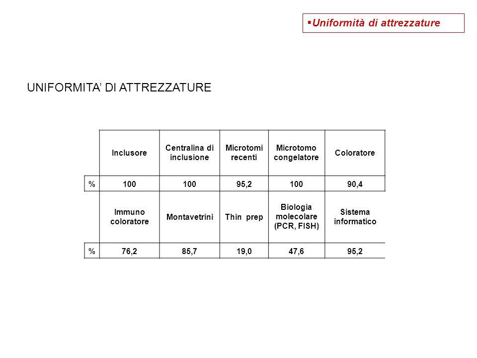 UNIFORMITA' DI ATTREZZATURE