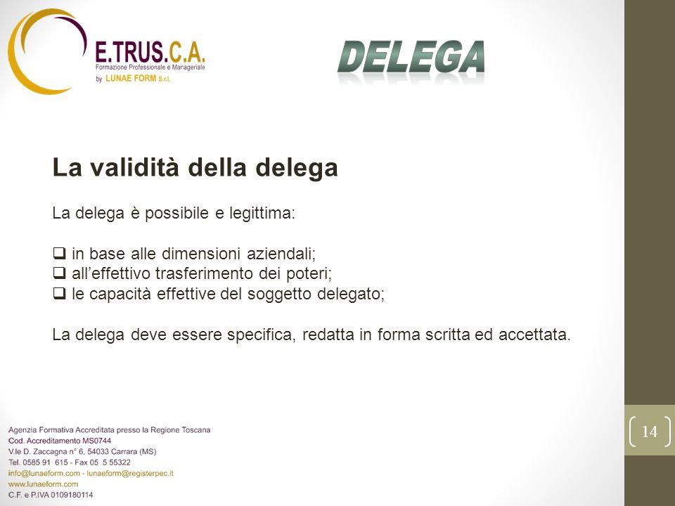 Delega La validità della delega La delega è possibile e legittima: