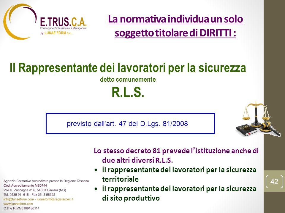 La normativa individua un solo soggetto titolare di DIRITTI :
