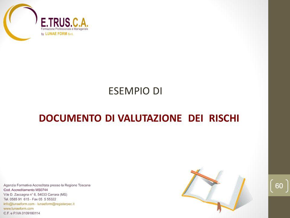ESEMPIO DI DOCUMENTO DI VALUTAZIONE DEI RISCHI
