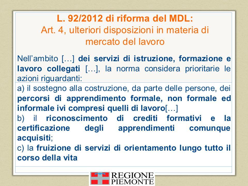 L. 92/2012 di riforma del MDL: Art
