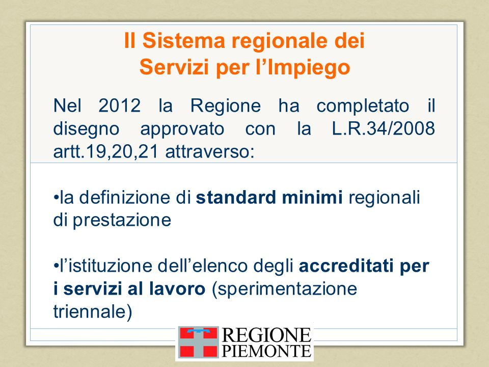 Il Sistema regionale dei