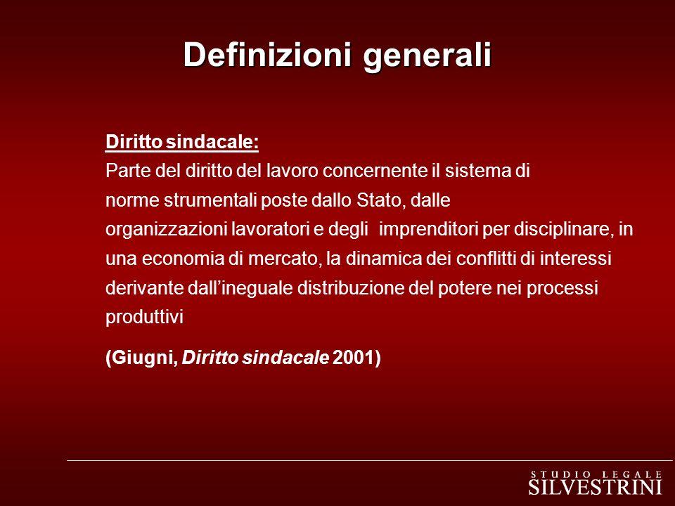 Definizioni generali Diritto sindacale: