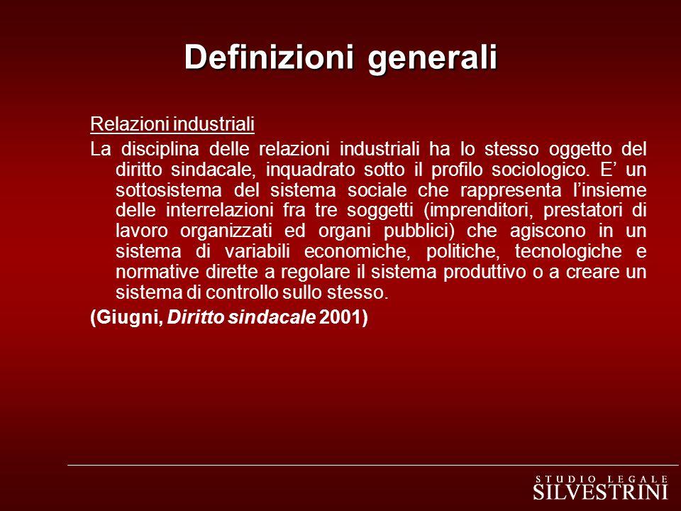 Definizioni generali Relazioni industriali