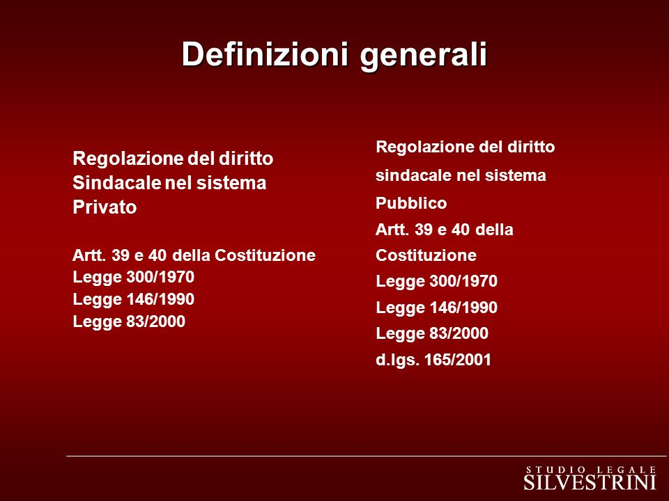 Definizioni generali Regolazione del diritto Sindacale nel sistema