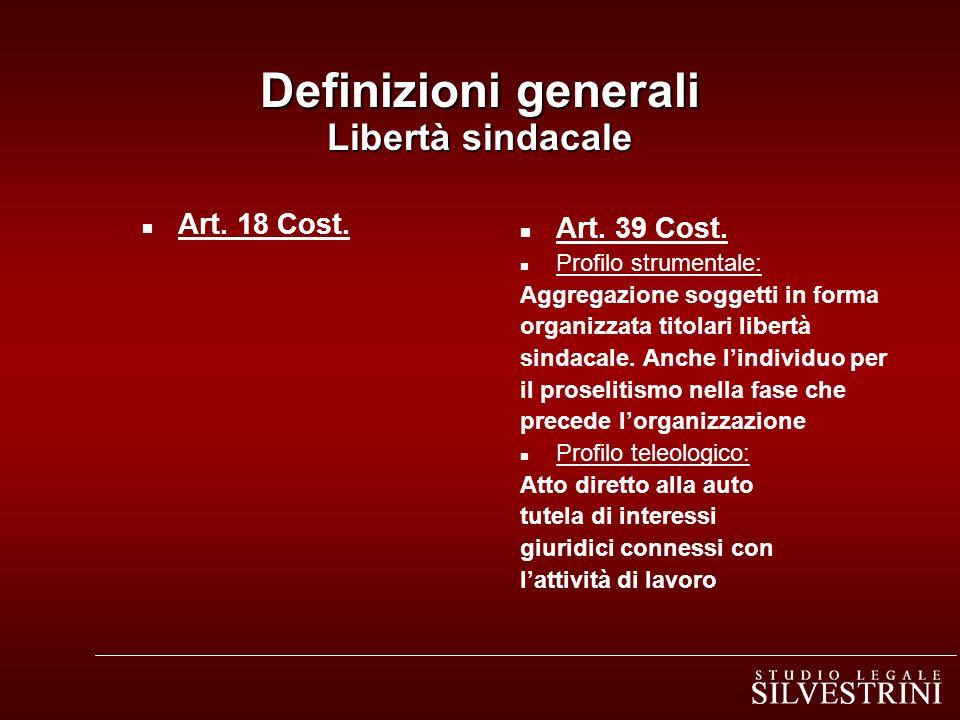Definizioni generali Libertà sindacale