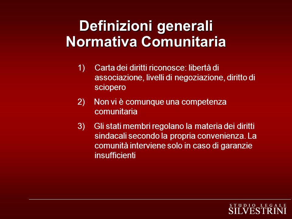 Definizioni generali Normativa Comunitaria