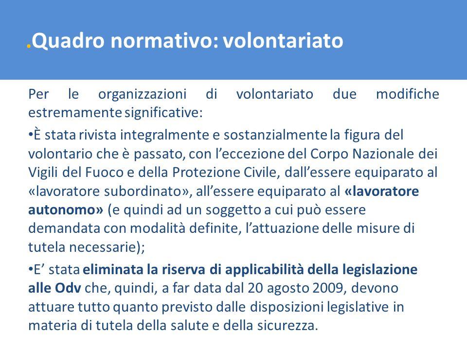 .Quadro normativo: volontariato