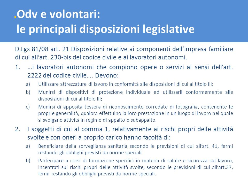 le principali disposizioni legislative