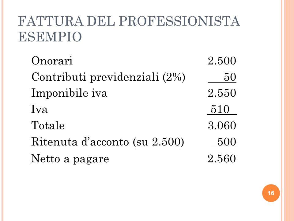 FATTURA DEL PROFESSIONISTA ESEMPIO