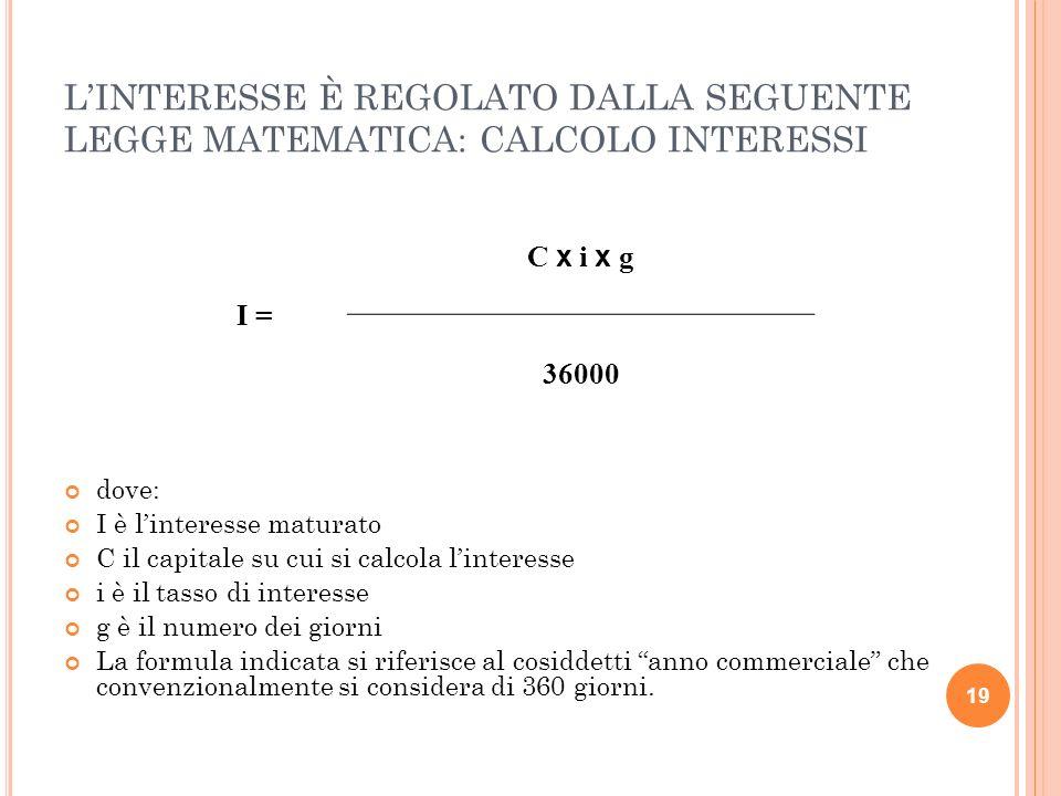 L'INTERESSE È REGOLATO DALLA SEGUENTE LEGGE MATEMATICA: CALCOLO INTERESSI