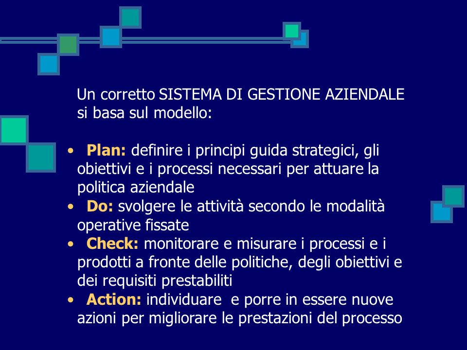 Un corretto SISTEMA DI GESTIONE AZIENDALE si basa sul modello: