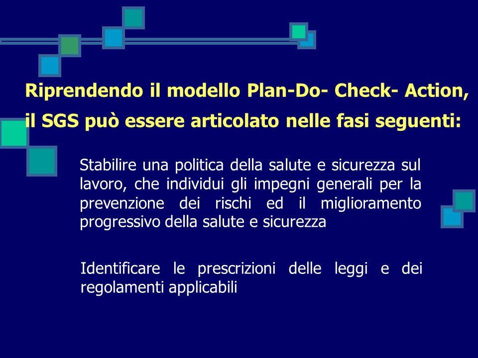 Riprendendo il modello Plan-Do- Check- Action, il SGS può essere articolato nelle fasi seguenti: