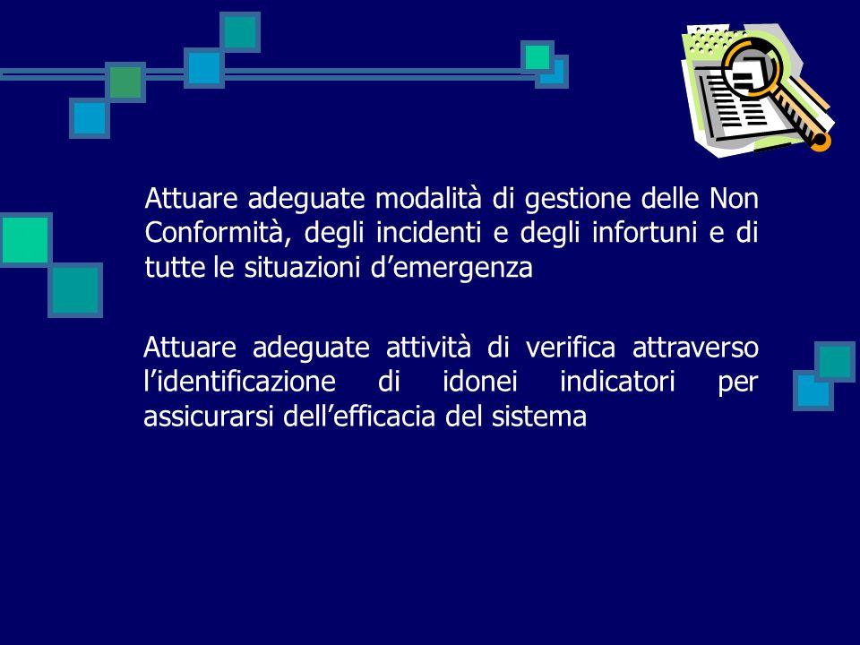 Attuare adeguate modalità di gestione delle Non Conformità, degli incidenti e degli infortuni e di tutte le situazioni d'emergenza